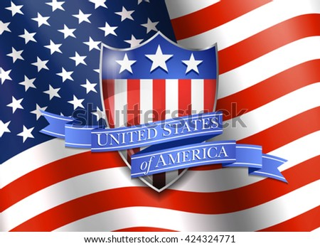 United States of America Shield with Flag Background - stock vector