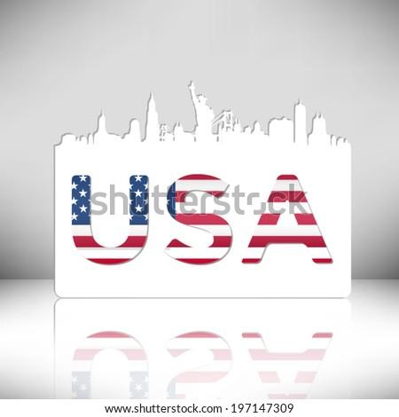 United States of America skyline silhouette vector design. - stock vector