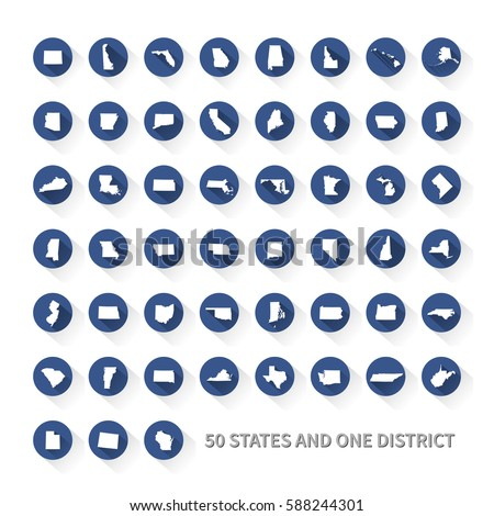 United States Of America 50 States And 1 Federal District Us States Map