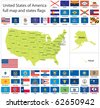 United States of America states flags collection with full map. - stock vector