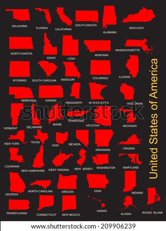 United States of America 50 states vector map isolated on black background. American separated red country silhouette illustration.  - stock vector