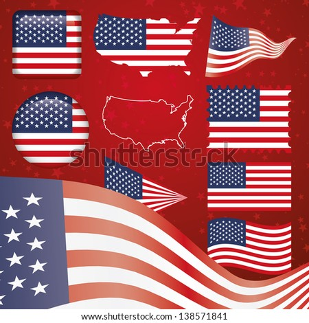 United States of America symbol set - stock vector