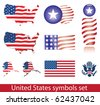 United States of America symbol set. Flag, map, seal, badge and person icon. - stock photo