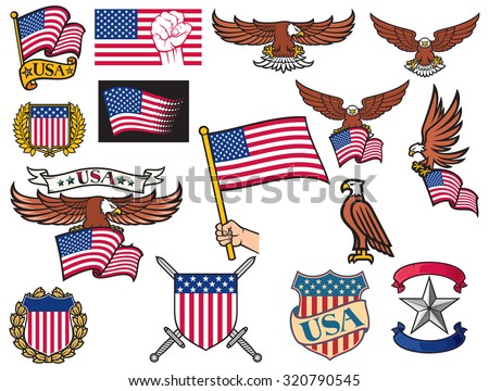 United States of America symbols (american flying eagle holding USA flag, hand holding USA flag, USA coat of arms design, shield and laurel wreath, USA icons) - stock vector
