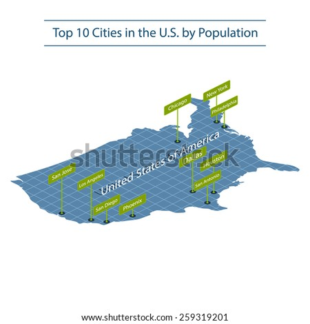 United states of America. Top 10 largest cities. Map of America. Isometric grid. Elements of this image furnished by NASA. Vector. - stock vector