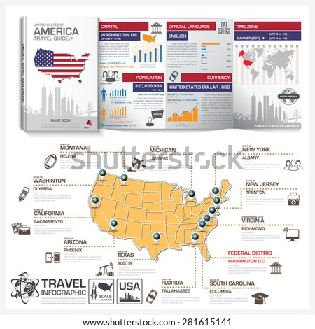 United States Of America Travel Guide Book Business Infographic With Map Vector Design Template