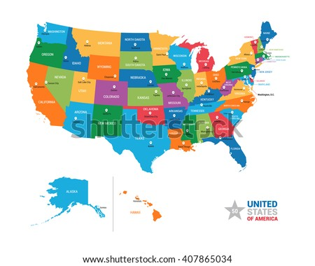 United States America Usa Vector Map Stock Vector 407865034