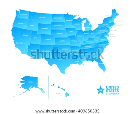 United States America Usa Regions Map Stock Vector - Map of the united state of america