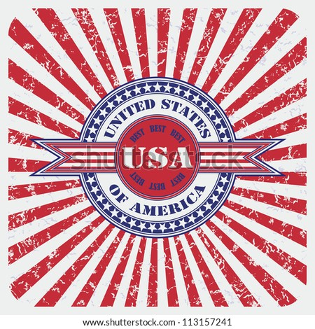 United States of America USA vintage label  on the abstract grunge background with rays - stock vector