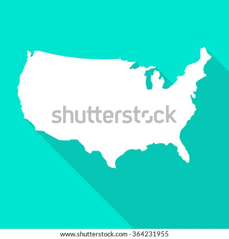 United States of America,USA white map,border flat simple style with long shadow on turquoise background. - stock vector