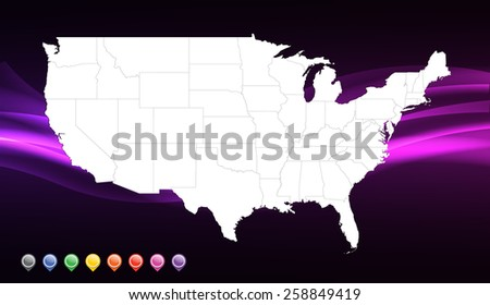 United States of America (Vector Illustration Map) - stock vector