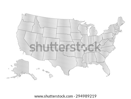United States of America - Vector Illustration (Map separable by borders) - stock vector