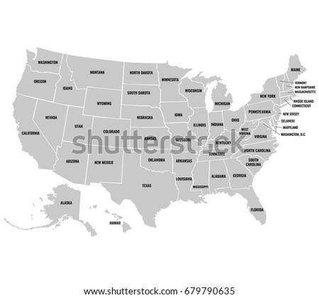 Stock Images RoyaltyFree Images Vectors Shutterstock - Us map full names