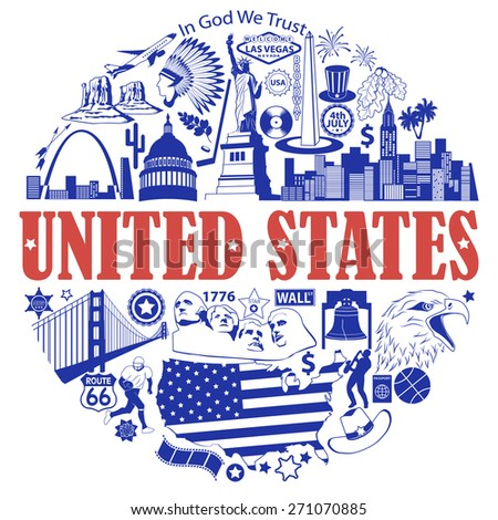 United States round background. Set vector icons and symbols - stock vector