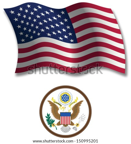 united states shadowed textured wavy flag and coat of arms against white background, vector art illustration, image contains transparency transparency - stock vector