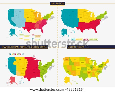 United States Standard Time Zones United Stock Vector - Time zones usa map states