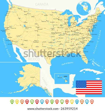 United States USA Map Flag Navigation Stock Vector 263959214 ...