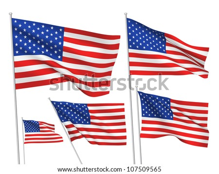 United States (USA) vector flags. A set of 5 wavy 3D flags created using gradient meshes - stock vector
