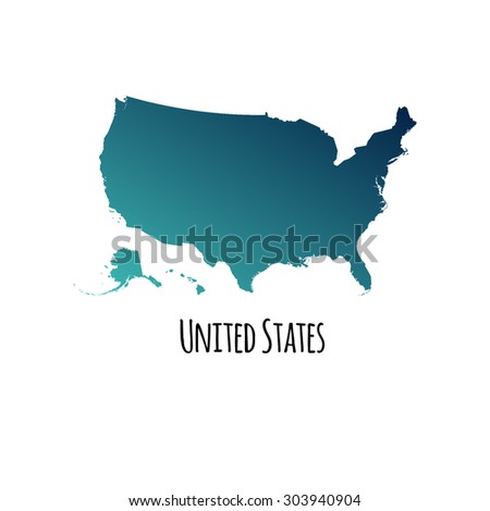 United States Vector Map Color Gradient Stock Vector 303940904