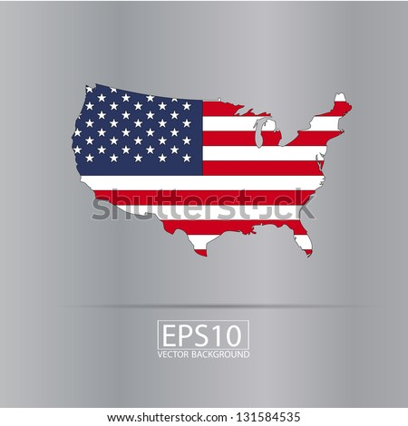 United states vector map with the flag inside. - stock vector