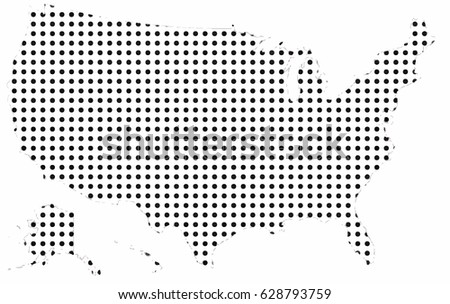 Map United States America Made Dots Stock Vector - Us map dot