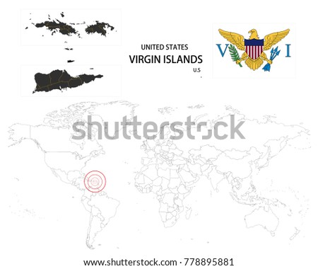 united states virgin islands u s map on a world map with flag on white