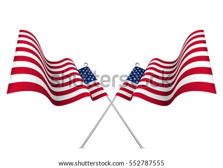 United states waving 3d flag. Usa national symbol vector eps10.