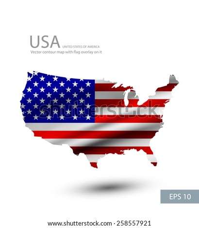 United states waving flag overlay on United states map. - stock vector