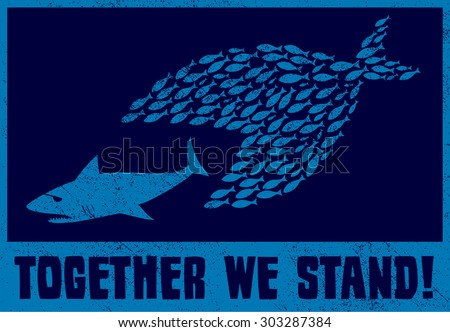 United we stand teamwork collaboration concept stock for Big fish eat small fish