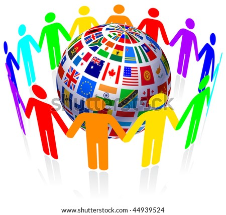 Unity and Flags Globe Original Vector Illustration - stock vector
