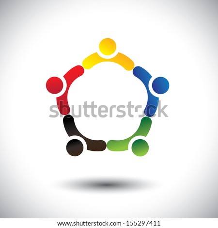 unity in people community, solidarity & friendship- concept vector. This illustration can also represent colorful kids playing together holding hands in circles or union of employees, workers or staff - stock vector