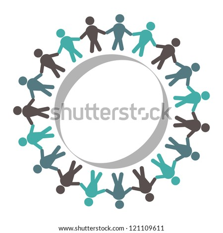 unity or support group concept. Male hand in hand in a circle. - stock vector