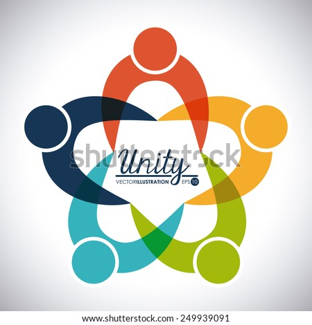 unity people design, vector illustration eps10 graphic  - stock vector