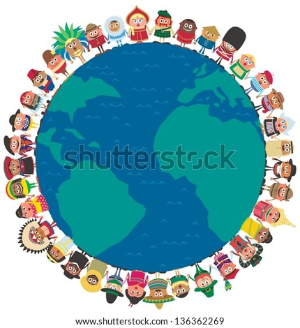 Unity: People from around the world holding hands as a symbol of unity. No transparency and gradients used. - stock vector