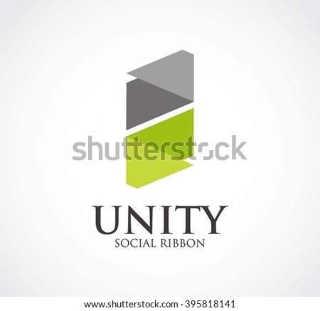 Unity ribbon of social abstract vector and logo design or template connection business icon of company identity symbol concept - stock vector