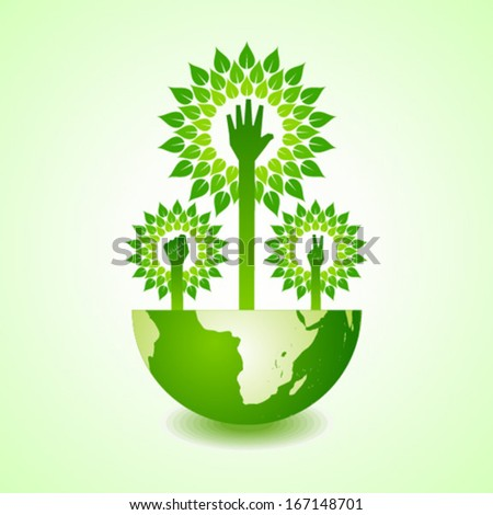 Unity ,victory and helping hand make tree on earth - vector illustration - stock vector
