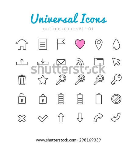 Univerasal linear icons set for web and mobile application. Basic vector symbols.