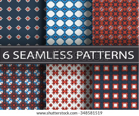 Universal christmas vector seamless patterns, tiling. Endless texture can be used for wallpaper, pattern fills, web page background,surface textures. Geometric ornaments.