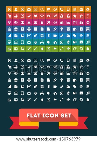 Universal Flat Icon Set. Vector - stock vector