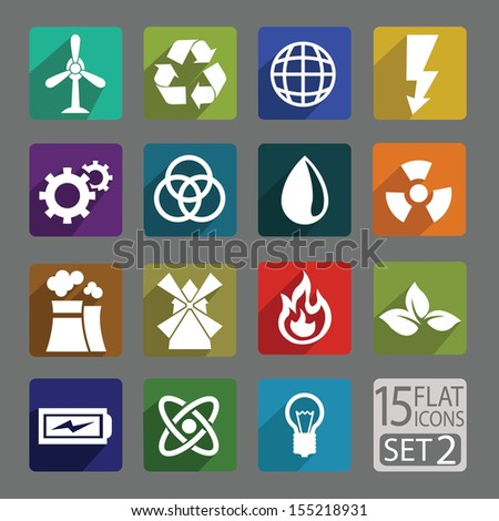 Universal flat icons for web and mobile application. Energy. Set 2 - stock vector