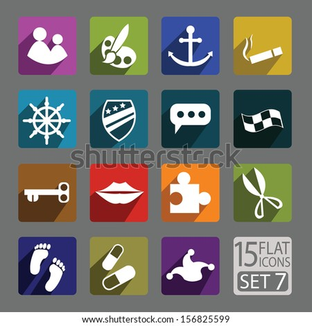 Universal flat icons for web and mobile applications. Mix Set 7 - stock vector