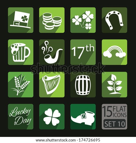 Universal flat icons for web and mobile applications. Saint Patricks Day. Set 10 - stock vector