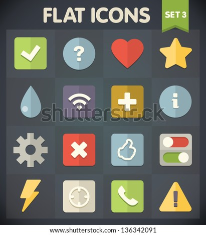 Universal Flat Icons for Web and Mobile Applications Set 3 - stock vector