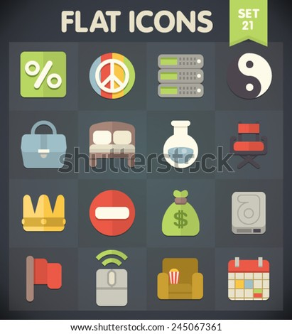Universal Flat Icons for Web and Mobile Applications Set 21 - stock vector