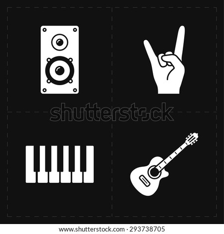 universal flat music icons - stock vector