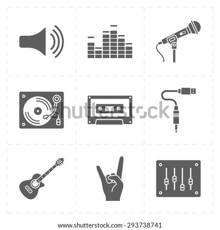 universal flat music icons - stock vector