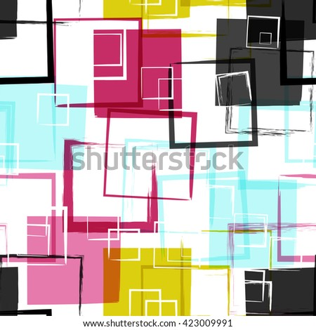 Universal geometric modern seamless pattern. Grunge texture. Squares. Vector illustration. Abstract geometric shapes.