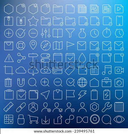 Universal GUI vector thin line icons set - stock vector