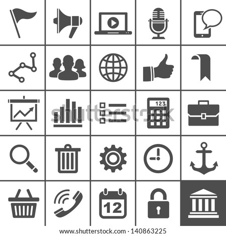 Universal Icon Set. 25 universal icons for website and app. Simplus series. Vector illustration - stock vector