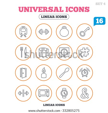 Universal icons. Fitness dumbbell, home key and candle. Toilet paper, knife and fork. Microwave oven. Circle buttons on white. Vector